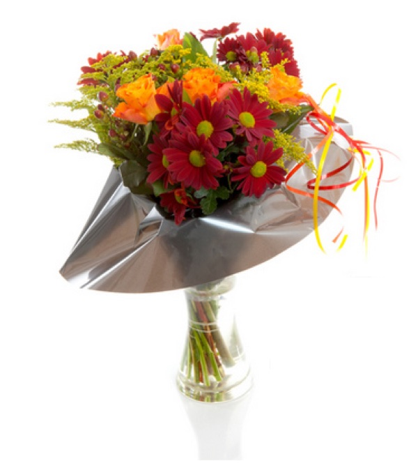 gerberas, lilies and roses